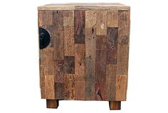 """Asian Art Imports, Patch Bed Side Table - reclaimed teak/iron, 17""""W x 12.5""""D x 23""""H  299 - orig. 550"""