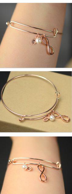 rose gold bangle ,Personalized Bracelet, Initial Bracelet, Infinity Bracelet, Gemstone Bracelet, Friendship Bracelet, Bridesmaid Gifts,