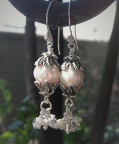 Check out FREE DELIVERY-Moon Lite Night, Lg Pearls & Rice Pearls, Clear Beads, Sterling Silver Earwires on beadstoart