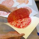 Peel off the paper - so exciting making monoprint mandalas