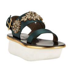 Marni Jeweled Satin Platform Sandal at Barneys.com