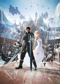 This wallpaper has tags of Noctis Lucis Caelum, Lunafreya Nox Fleuret, Final Fantasy XV, Video Game, Arte Final Fantasy, Fantasy Series, Fantasy World, Final Fantasy Cosplay, Noctis Final Fantasy, Noctis And Luna, Witcher Wallpaper, Kingdom Hearts, Game Character