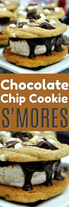 Chocolate Chip Cookies S'mores bring two of my favorite things together. Roasted marshmallows smooshed between to warm and delicious chocolate chip cookies and top it off with a drizzle of chocolate ganache. It doesn't get much better than this! #smores #smorecookies #chocolatechipcookiesmores #smorerecipe #indoorsmores