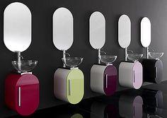 Contemporary Bathroom Vanity from Lasa Idea, Small Bathroom Design Ideas Bathroom Vanity Designs, Modern Bathroom Design, Bathroom Colors, Bathroom Interior Design, Small Bathroom, Bathroom Vanities, Colorful Bathroom, Modern Sink, Bathroom Fixtures