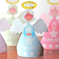 Candy colored printable Christmas angel ornaments by Happythought printablepaperpro...