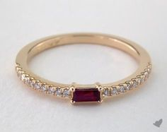 52388 wedding rings, womens stackable, yellow gold ruby baguette and diamond ring july item - Mobile Engagement Sets, Round Diamond Engagement Rings, Antique Engagement Rings, Antique Rings, Discount Diamond Rings, Diamond Gemstone, Gemstone Rings, Baguette, Gold Rings Jewelry