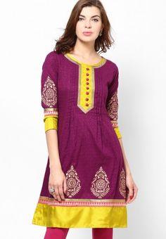 Cotton Blend Printed Purple Anarkali by Diya - jabongworld.com