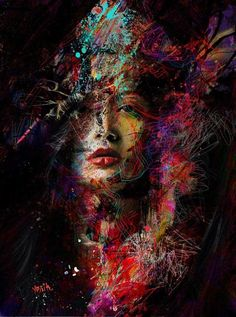 yossi kotler art- portrait- giclee print embellished not framed to be shipped rolled in a secure tube - inkjet print embellished on high quality canvas / illustration drawing, original painting. L'art Du Portrait, Abstract Portrait, Portraits, Abstract Art, Arte Pop, Face Art, Oeuvre D'art, Amazing Art, Fantasy Art