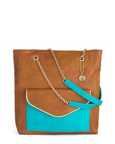 aqua & brown tote bag