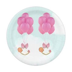 baby shower girl twins decorations 7 inch paper plate