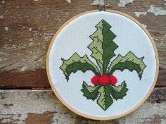 Holly Fleur de Lis Christmas Cross Stitch Pattern