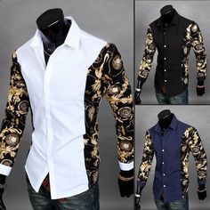 Mens edgy sleeve design dress shirt for the trendy men Trendy design offers a unique stylish look Great for the workplace or casual outings Made from high quality material Available in 3 colors is part of Men shirt style - African Shirts, African Wear, African Men Fashion, Mens Fashion, Fashion Shirts, Fashion Boots, Gold Dress Shirt, Dress Shirts, Slim Fit Casual Shirts