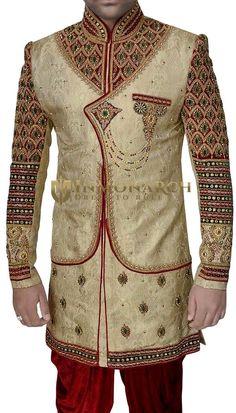 Mens Beige 2 Pc Indo Western Sherwani Angrakha Pattern