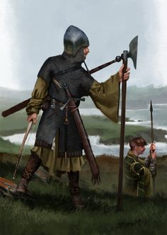 Galloglass-he was usually accompanied by two boys (like Knights squires). One carrying his throwing spears and the other carrying provisions. Historical Art, Historical Pictures, High Fantasy, Medieval Fantasy, Les Runes, Irish Clothing, Irish Warrior, Celtic Warriors, Armadura Medieval