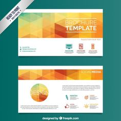 brochure template with colorful triangles free vector - Art Brochure Templates Free