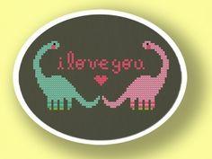 Dino Love. Cross Stitch Pattern PDF File. $4.50, via Etsy.