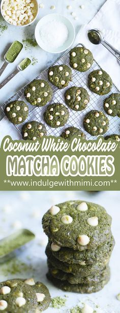 An easy and scrumptious Matcha White Chocolate Chip Cookie recipe with added coconut. It's the best treat for those who love a strong matcha flavor that's perfectly paired with a delectably sweet white chocolate and nutty coconut. Chip Cookie Recipe, Easy Cookie Recipes, Baking Recipes, Cookie Ideas, Baking Tips, Brownie Recipes, Yummy Recipes, Fun Desserts, Dessert Recipes