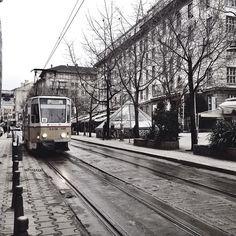 Trams travelling through the city center of Sofia, Bulgaria.