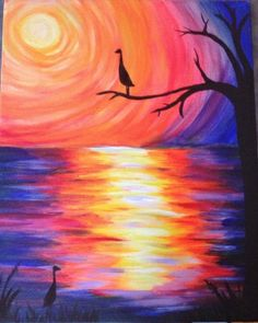 Cranes Eve - Imagine escaping with a nice night on the water, seeing the wildlife, and watching the sunset in a peaceful scene. The vibrant colors of this painting will remind you how fun it is to watch a sunset over the water and enjoy a night out. #PinotsPalette #PaintDrinkHaveFun