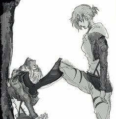 Annie and Petra Attack on Titan ~Kay Attack On Titan Season, Attack On Titan Funny, Attack On Titan Anime, Mikasa, Armin, Anime Meme, Manga Anime, Anime Art, Female Titan