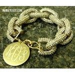I want for my bday!! Monogrammed Clear Crystal Glitzy Chain Bracelet