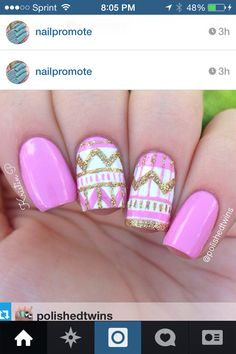 Pink, white and gold glitter tribal mani