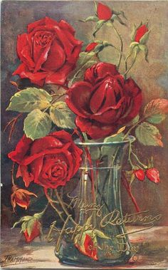 clear vase with water and three fully opened red roses, many buds