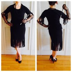 🚬 Halloween Flapper Costume 🚬 Comes with black fringe top, black fringe skirt, beaded necklace, spiderweb lace gloves, cigarette holder and fake cigarette. Top and skirt are labeled size large, but they really fit a size small or medium. Material for top & skirt is 50% cotton and 50% polyester. (These items can also be sold separately.) Other