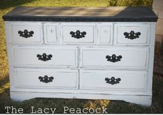 BLACK AND WHITE DISTRESSED DRESSER | Black and White Distressed Dresser / Buffet / Changing Table or Tv ...