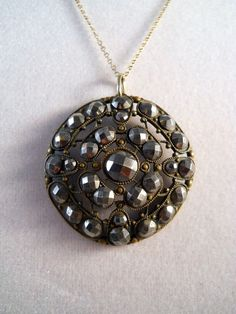 Victorian French Cut Steel Pendant Necklace