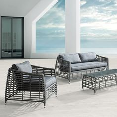 Deep Seating Wicker Patio Furniture Sets I Spacious Design! Outdoor Sofa Sets, Grey Outdoor Furniture, Wicker Patio Furniture Sets, Outdoor Seating, Indoor Outdoor, Outdoor Living, Outdoor Decor, Paint Furniture, Lounge Furniture