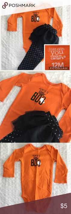 """EUC Two-Piece Halloween Tutu Set by Carter's Great for Halloween!  This two-piece set by Just for You Carter's includes: orange """"Auntie's Little Boo"""" long-sleeve onesie and black leggings with glitter polka dots and wrap-around tutu.  12M.  EUC, worn once.  100% cotton. Carter's Matching Sets"""