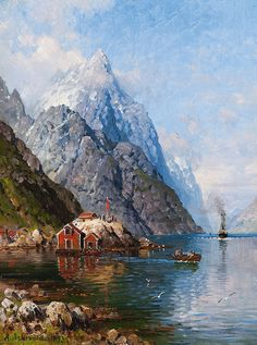 Anders Monsen Askevold - The Steamer Entering Sognefjord Cool Landscapes, Landscape Paintings, Great Paintings, Art World, Great Photos, Traditional Art, Great Artists, Wild Flowers, Norway