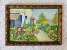 Painting by A. Colaux, Garden and Flowers Signed Dated and Framed Provencal Garden Oil on Board, 1920s by TitoWanderlust on Etsy