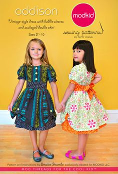 Addison dress pattern from ModKid. Vintage style with bubble sleeves and scalloped double skirt.