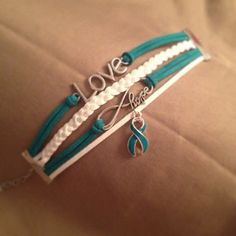 AWESOME turquoise awareness bracelet pack! at https://www.etsy.com/listing/231285414/anti-bullying-anxiety-cervical-ovarian