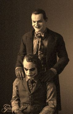 Funny pictures about Jack Nicholson And Heath Ledger As The Jokers. Oh, and cool pics about Jack Nicholson And Heath Ledger As The Jokers. Also, Jack Nicholson And Heath Ledger As The Jokers photos. Jack Nicholson, Joker Nicholson, Comic Kunst, Comic Art, Comic Books, Chewbacca, Joker Et Harley, The Joker, Joker Joker