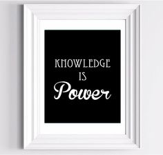 Knowledge is Power  Typography Art Print   11 by LoveSignBoutique, $26.00
