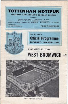 Vintage Football (soccer) Programme - Tottenham Hotspur v West Bromwich Albion, 1964/65 season #football #soccer #spurs