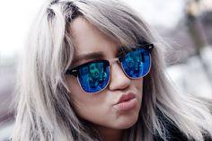Madelene Billman: Retro Horned Rim Half Frame Flash Revo Lens Sunglasses 9309
