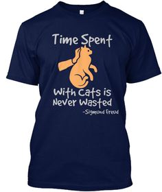 Time Spent With Cats Is Never Wasted  Sigmund Freud Navy T-Shirt Front