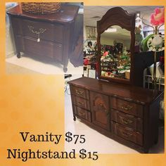 Great #furniture finds this week! Create a fabulous bedroom with this #vanity and #nightstand. Open 10am-5pm at 3916 South Crater Rd in Petersburg.        #charityshop #whybuynew #kitchenware #dining #buylocal #shoplocal #thriftstore #thriftshop #hopewellva #petersburgva #colonialheights #chesterfield #rva #804 #vintagefurniture #furniture #thriftfurniture