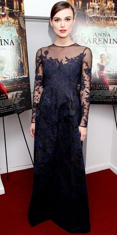 Keira Knightley in a lace Valentino dress at a screening of her movie Anna Karenina