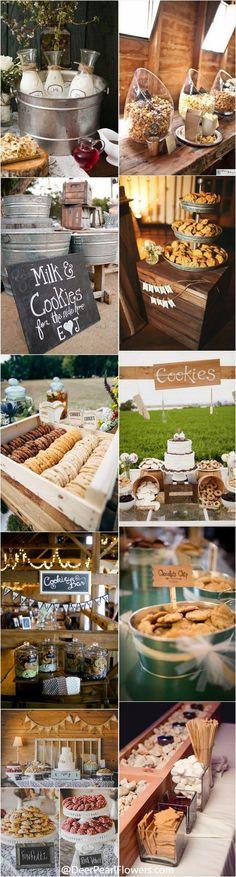 Rustic country wedding ideas - milk and cookies wedding bar   Wedding Food Ideas