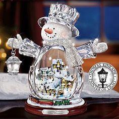 Collectible Thomas Kinkade White Christmas Snowman Animated Figurine