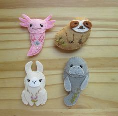 Sewing Stuffed Animals DIY unusual creatures - PDF felt sewing pattern by Aimee Ray axolotl, sloth, llama and manatee mini felt plush Felt Animal Patterns, Felt Crafts Patterns, Stuffed Animal Patterns, Sewing Patterns, Axolotl, Easy Felt Crafts, Felt Diy, Easter Crafts, Llamas Animal