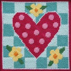 Easy Needlepoint Kit<BR>Polka Dot Heart. NEW!