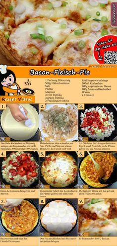Bacon-Fleisch-Pie Rezept mit Video - Rezeptideen/ Kochrezepte Bacon meat pie recipe with video recipes tasty Crockpot Recipes For Kids, Chicken Recipes For Kids, Healthy Chicken Recipes, Meat Recipes, Cooking Recipes, Cooking Ideas, Drink Recipes, Bacon Meat, Tasty