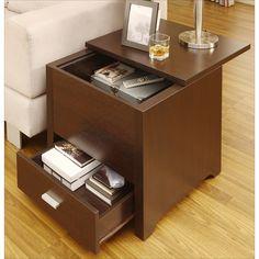 Dark Espresso End Table Kai with Double Storage   Overstock.com