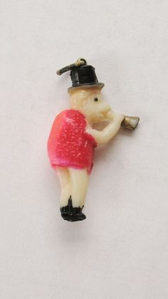 VTG Pink Celluloid Monkey & Horn CRACKER JACK Prize Premium Charm Toy #crackerjack